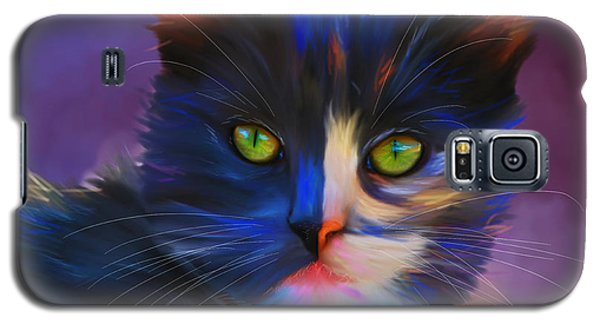 Meesha Colorful Cat Portrait Galaxy S5 Case