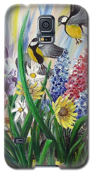 Galaxy S5 Case featuring the painting Meeting In The Garden by Nina Mitkova