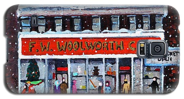Galaxy S5 Case featuring the painting Memories Of Winter At Woolworth's by Rita Brown