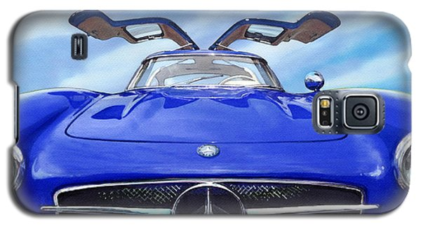 Galaxy S5 Case featuring the painting Mercedes Gullwing In Blue by Rod Seel