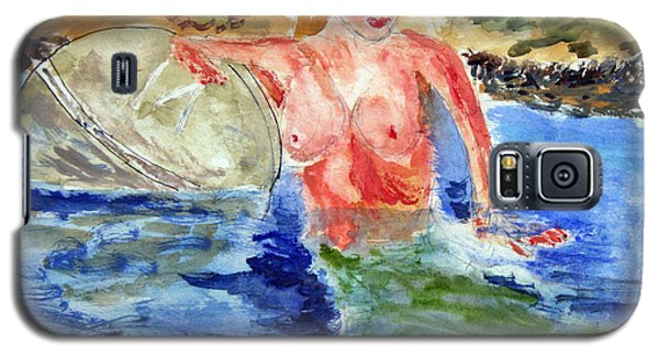 Galaxy S5 Case featuring the painting Mermaid And The Buoy by Michael Helfen