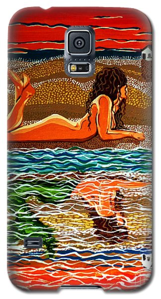 Galaxy S5 Case featuring the painting Mermaid Day Dreaming  by Jackie Carpenter