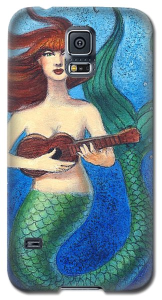 Galaxy S5 Case featuring the painting Mermaid Ukulele Angels by Sue Halstenberg