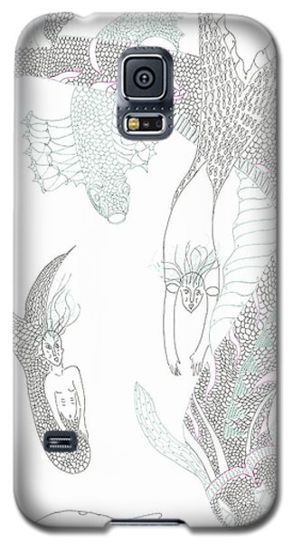 Galaxy S5 Case featuring the drawing Mermaids And Sea Dragons by Helen Holden-Gladsky