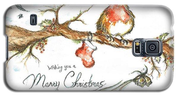 Merry Christmas Robin Galaxy S5 Case by Teresa White