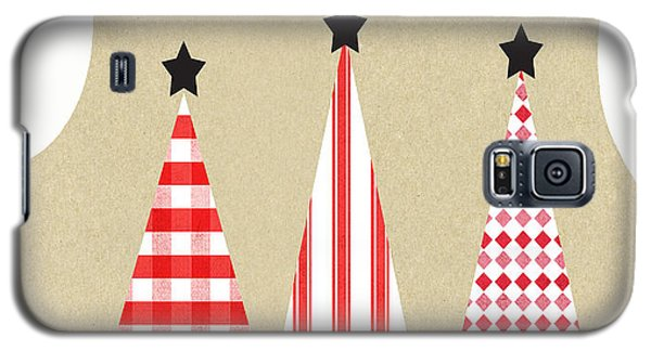 Card Galaxy S5 Case - Merry Christmas With Red And White Trees by Linda Woods