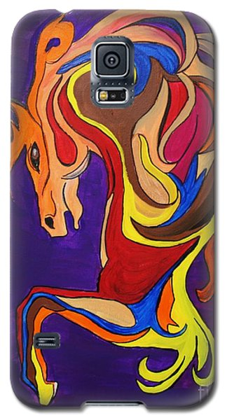 Galaxy S5 Case featuring the painting Merry Go Round Carousel Horse by Janice Rae Pariza