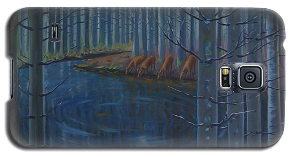 Galaxy S5 Case featuring the painting Message At Night by Tone Aanderaa