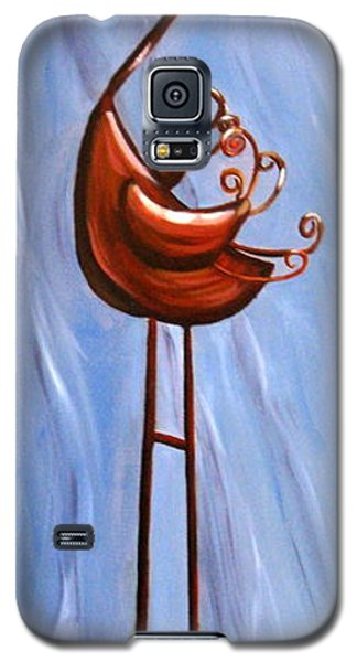 Galaxy S5 Case featuring the painting Metal Crane by LaVonne Hand