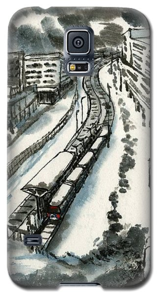 Galaxy S5 Case featuring the painting Metro Train At Central Wester-end by Ping Yan