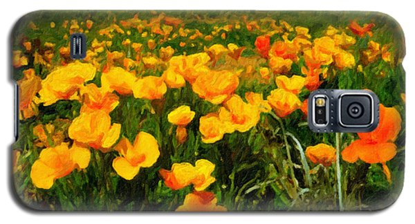Galaxy S5 Case featuring the digital art Mexican Poppies by Chuck Mountain