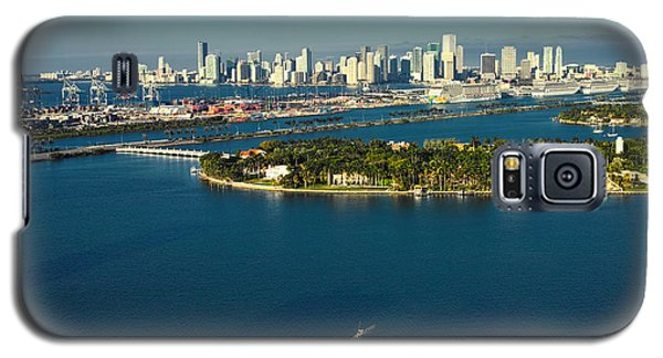 Galaxy S5 Case featuring the photograph Miami City Biscayne Bay Skyline by Gary Dean Mercer Clark