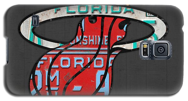 Miami Heat Basketball Team Retro Logo Vintage Recycled Florida License Plate Art Galaxy S5 Case by Design Turnpike