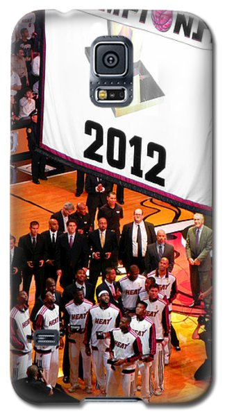 Galaxy S5 Case featuring the photograph Miami Heat Championship Banner by J Anthony
