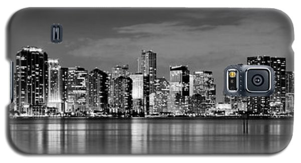 Miami Galaxy S5 Case - Miami Skyline At Dusk Black And White Bw Panorama by Jon Holiday