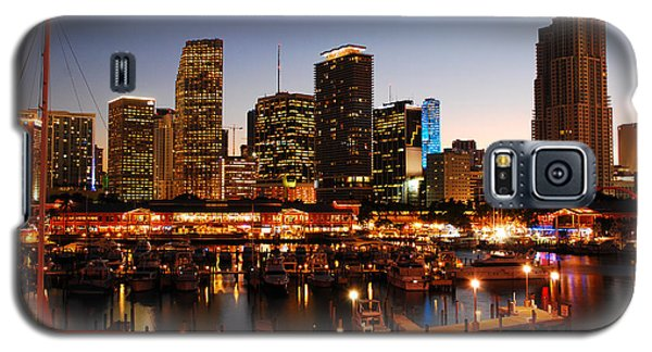 Galaxy S5 Case featuring the photograph Miami Skyline At Dusk by James Kirkikis
