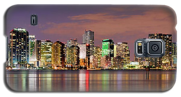 Miami Galaxy S5 Case - Miami Skyline At Dusk Sunset Panorama by Jon Holiday