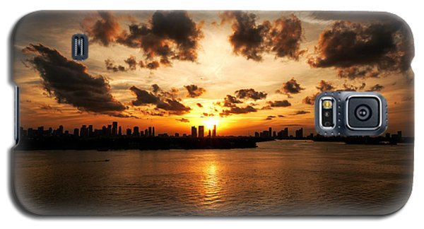 Galaxy S5 Case featuring the photograph Miami Skyline Sunset by Gary Dean Mercer Clark
