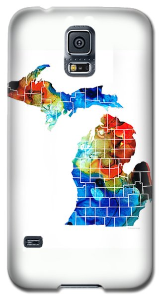Michigan State Map - Counties By Sharon Cummings Galaxy S5 Case by Sharon Cummings