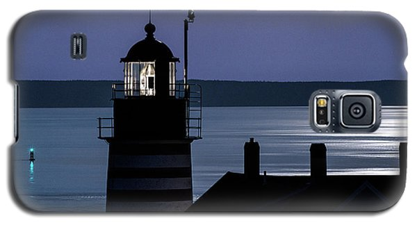Galaxy S5 Case featuring the photograph Midnight Moonlight On West Quoddy Head Lighthouse by Marty Saccone