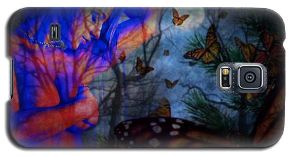 Galaxy S5 Case featuring the digital art Midnight Nude With Butterflies by Diana Riukas
