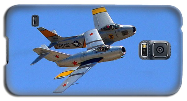 Galaxy S5 Case featuring the photograph Mig 15 And F86 Sabre by Jeff Lowe