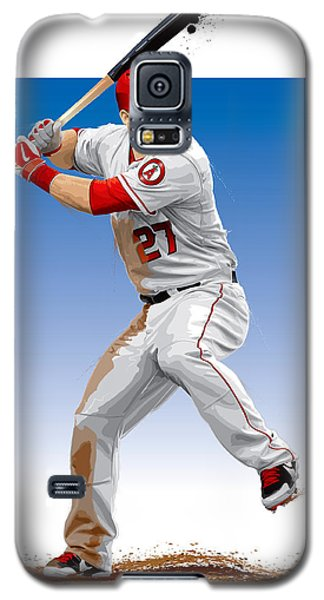 Galaxy S5 Case featuring the digital art Mike Trout by Scott Weigner