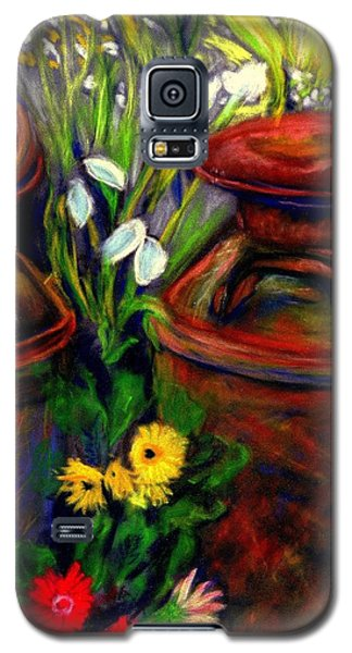 Galaxy S5 Case featuring the pastel Milk Cans At Flower Show Sold by Antonia Citrino