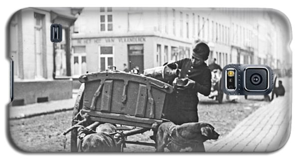 Galaxy S5 Case featuring the photograph Milk Wagon Street Scene Germany C 1900 Vintage Photo by A Gurmankin