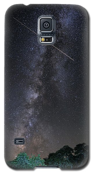 Milky Way Vertical Panorama At Enchanted Rock State Natural Area - Texas Hill Country Galaxy S5 Case by Silvio Ligutti