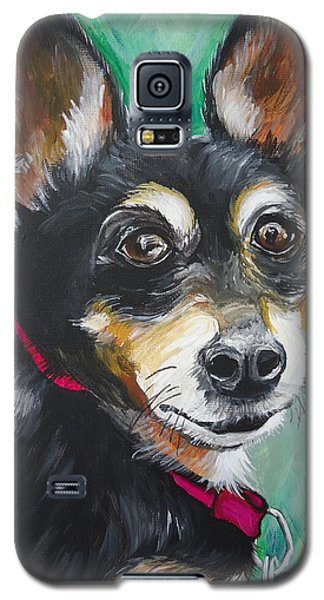 Galaxy S5 Case featuring the painting Miniature Pincher by Leslie Manley