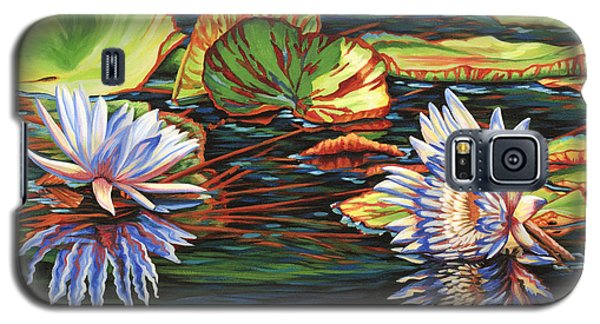 Galaxy S5 Case featuring the painting Mirrored Lilies by Jane Girardot