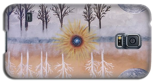 Galaxy S5 Case featuring the painting Mirrored Worlds  by Cynthia Morgan