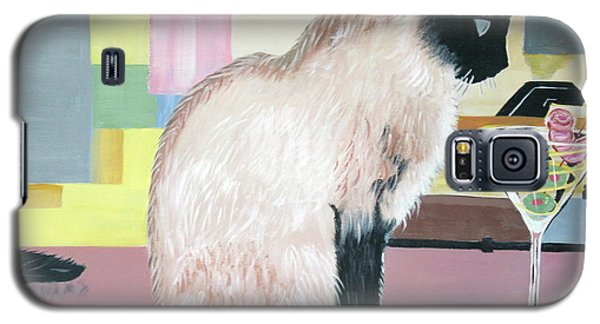 Galaxy S5 Case featuring the painting Miss Kitty And Her Treat by Phyllis Kaltenbach