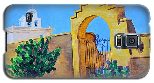 Galaxy S5 Case featuring the painting Mission San Xavier by Rodney Campbell