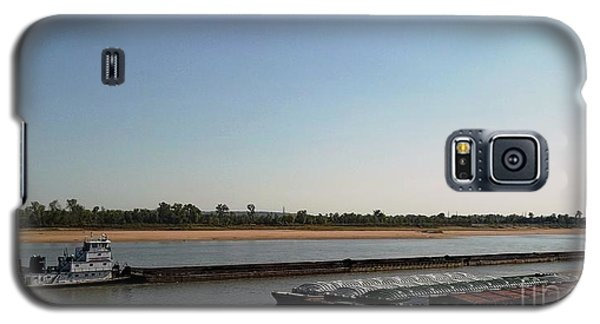 Galaxy S5 Case featuring the photograph Mississippi River Barge by Kelly Awad
