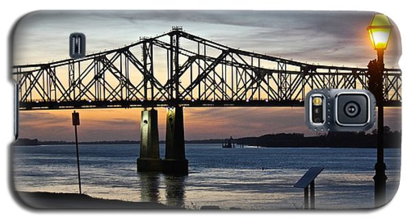 Galaxy S5 Case featuring the photograph Mississippi River Bridge Natchez Sunset by Jim Albritton