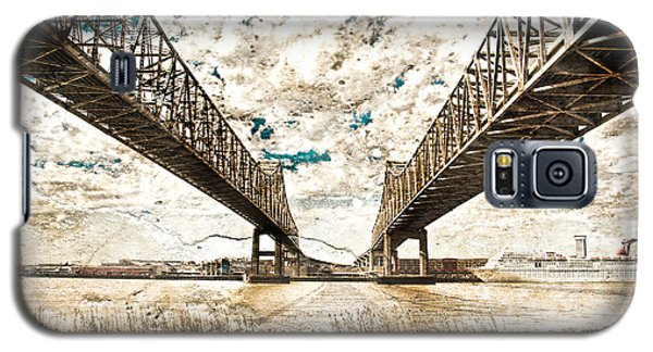 Galaxy S5 Case featuring the photograph Mississippi River Bridge Twin Spans by Ray Devlin