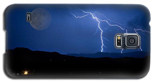 Misty Lake Full Moon Lightning Storm Fine Art Photo Galaxy S5 Case