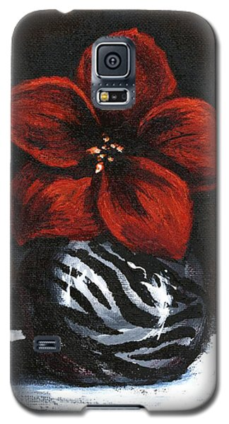 Galaxy S5 Case featuring the painting Modest Little Red Flower by Alga Washington