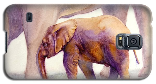 Galaxy S5 Case featuring the painting Mom And Baby Boy Elephants by Bonnie Rinier