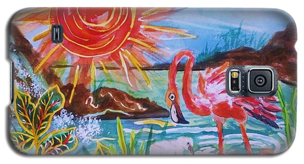 Momma And Baby Flamingo Chillin In A Blue Lagoon  Galaxy S5 Case