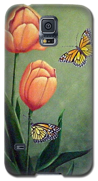 Monarchs And Golden Tulips Galaxy S5 Case by Fran Brooks