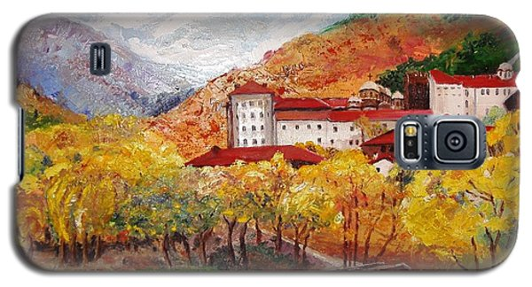 Galaxy S5 Case featuring the painting Monastery by Nina Mitkova