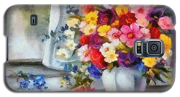 Galaxy S5 Case featuring the digital art Monet Floral Edged by Catherine Lott