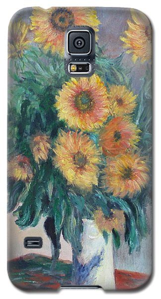 Galaxy S5 Case featuring the painting Monet's Sunflowers by Catherine Hamill