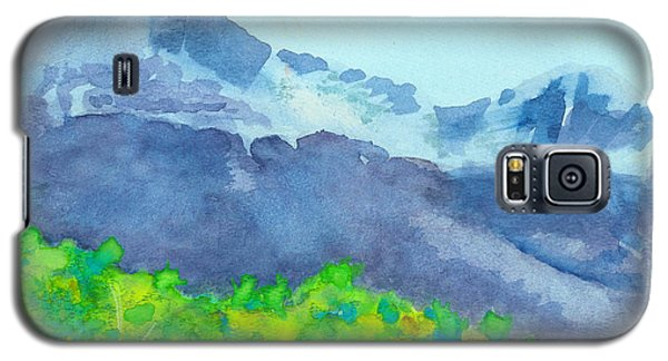 Galaxy S5 Case featuring the painting Montana Mountain Mist by C Sitton