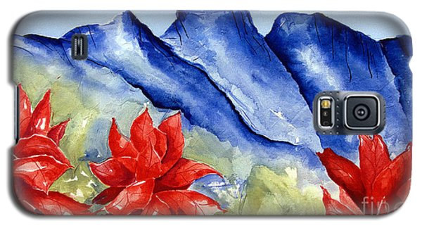 Monterrey Mountains With Red Floral Galaxy S5 Case
