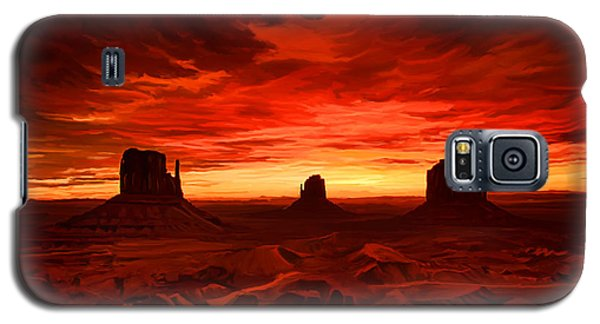 Galaxy S5 Case featuring the painting Monument Valley Sunset by Tim Gilliland
