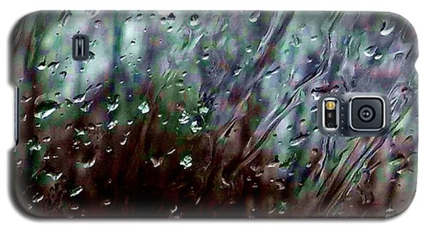 Galaxy S5 Case featuring the photograph Moody Blues Rain On The Window Series 2 Abstract Photo by Marianne Dow